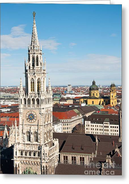 Marienplatz Greeting Cards - German Town Hall Greeting Card by Andrew  Michael