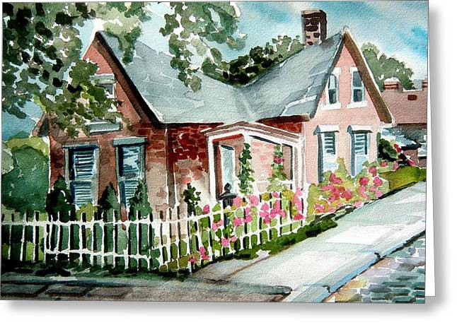 Brick Buildings Drawings Greeting Cards - German Village House Greeting Card by Mindy Newman