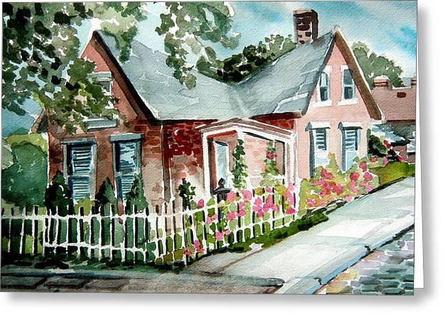 Sidewalk Drawings Greeting Cards - German Village House Greeting Card by Mindy Newman