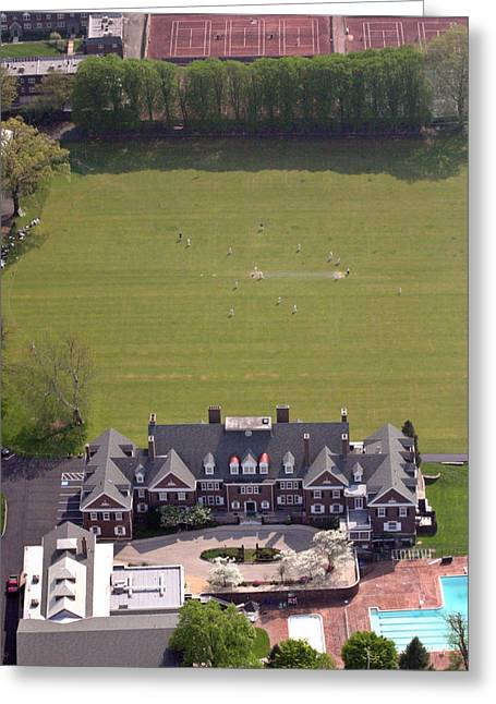 Cricket Aerial Greeting Cards - Germantown Cricket Club Courtyard Greeting Card by Duncan Pearson