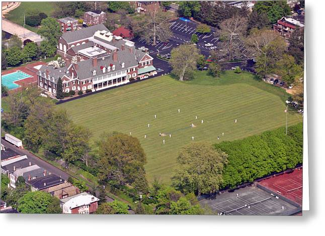 Cricket Aerial Greeting Cards - Germantown Cricket Club Cricket Festival Greeting Card by Duncan Pearson