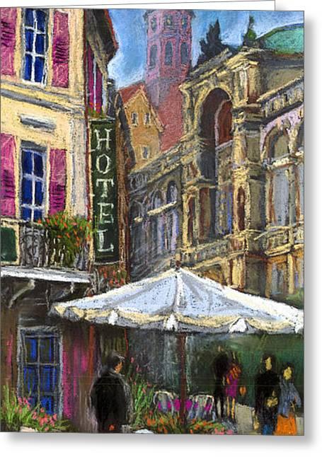 Old Street Pastels Greeting Cards - Germany Baden-Baden 07 Greeting Card by Yuriy  Shevchuk