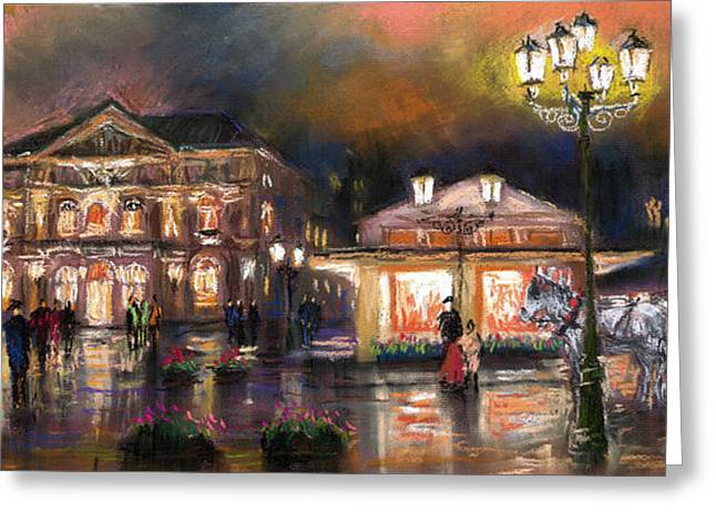 Europe Pastels Greeting Cards - Germany Baden-Baden 14 Greeting Card by Yuriy  Shevchuk