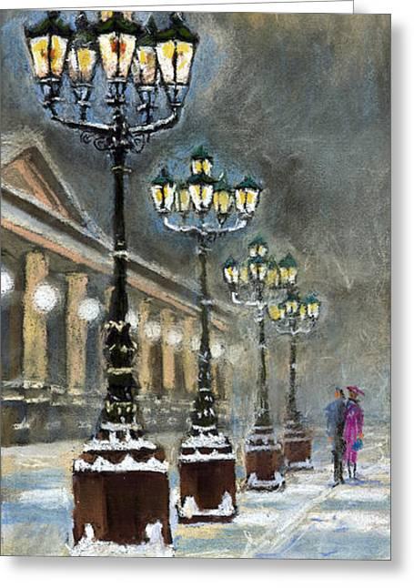 Snow Pastels Greeting Cards - Germany Baden-Baden Kurhaus Greeting Card by Yuriy  Shevchuk