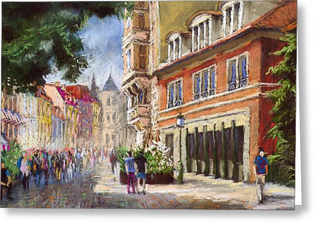 Old Street Pastels Greeting Cards - Germany Baden-Baden Lange Str Greeting Card by Yuriy  Shevchuk