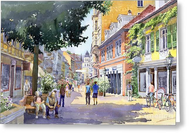 Old Paintings Greeting Cards - Germany Baden-Baden Lange Strasse Greeting Card by Yuriy  Shevchuk