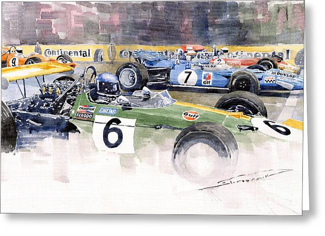 Classic Lotus Greeting Cards - Germany GP Nurburgring 1969 Greeting Card by Yuriy  Shevchuk