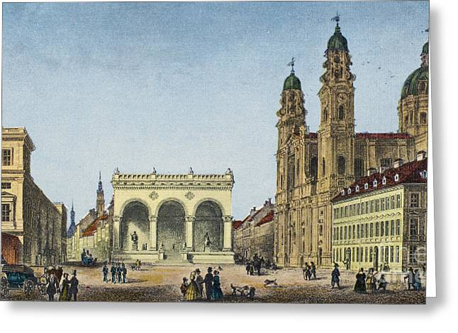 U-bahn Photographs Greeting Cards - GERMANY: MUNICH, c1845 Greeting Card by Granger