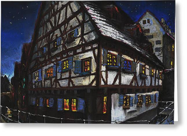 Europe Pastels Greeting Cards - Germany Ulm Fischer Viertel Schwor-Haus Greeting Card by Yuriy  Shevchuk