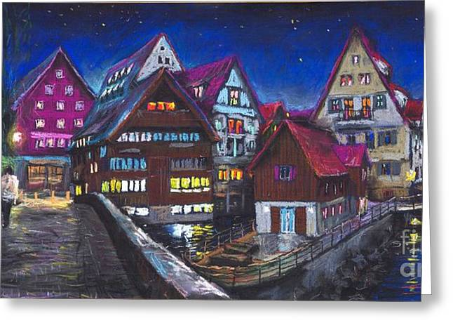 Europe Pastels Greeting Cards - Germany Ulm Fischer Viertel Greeting Card by Yuriy  Shevchuk