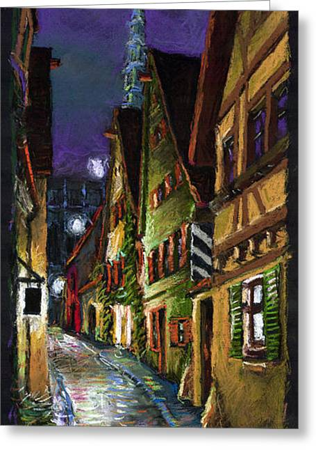 Europe Pastels Greeting Cards - Germany Ulm Old Street Night Moon Greeting Card by Yuriy  Shevchuk