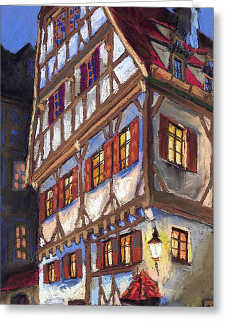Pastels Pastels Greeting Cards - Germany Ulm Old Street Greeting Card by Yuriy  Shevchuk