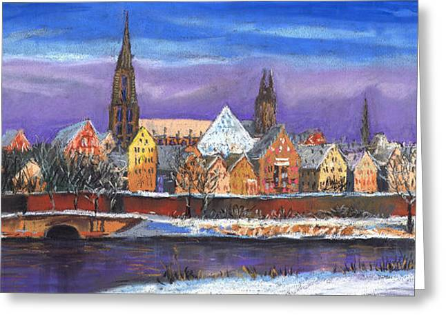 Europe Pastels Greeting Cards - Germany Ulm Panorama Winter Greeting Card by Yuriy  Shevchuk