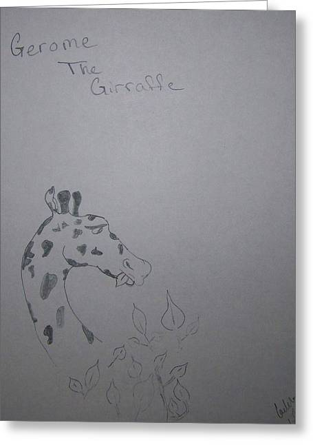 Pencil On Canvas Greeting Cards - Gerome The Giraffe Greeting Card by Laurie Kidd