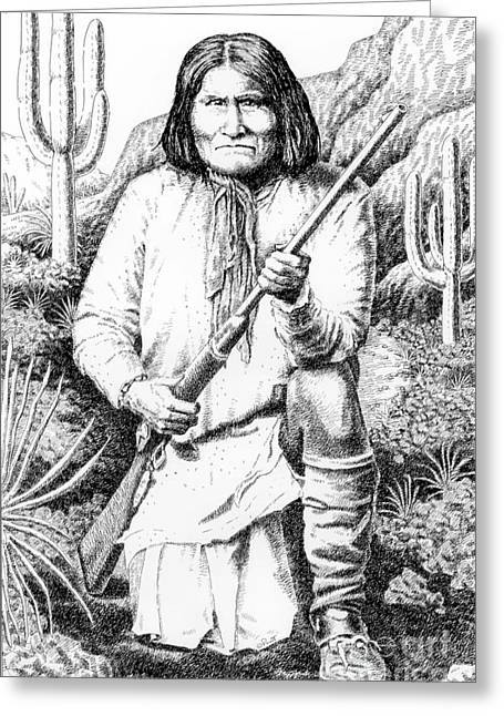 Chief Iron Tail Greeting Cards - Geronimo Greeting Card by Gordon Punt