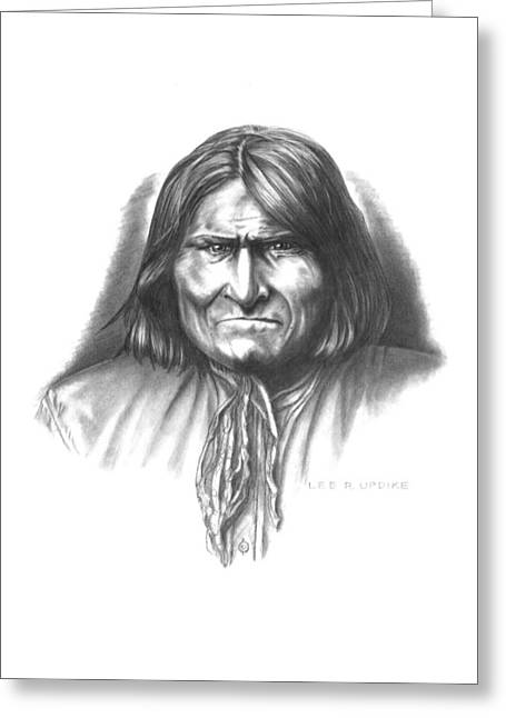 Aboriginal Art Drawings Drawings Greeting Cards - Geronimo Greeting Card by Lee Updike