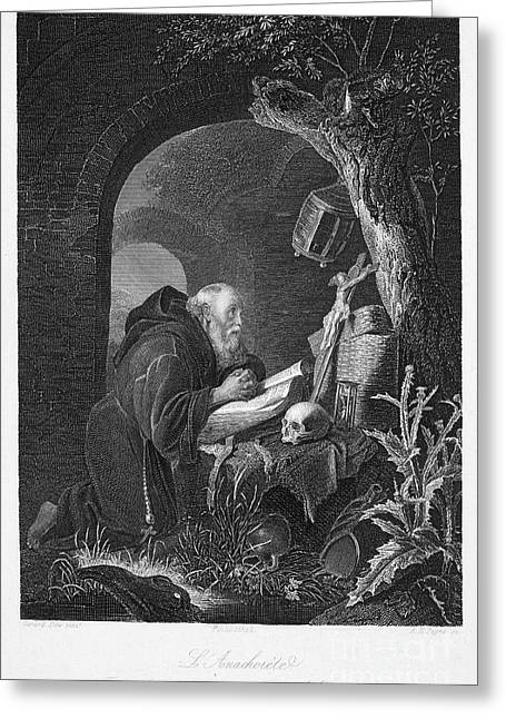 Cassocks Greeting Cards - Gerrit Dou: The Anchorite Greeting Card by Granger