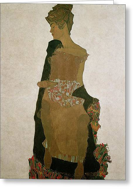 Exhausted Greeting Cards - Gerti Schiele Greeting Card by Egon Schiele