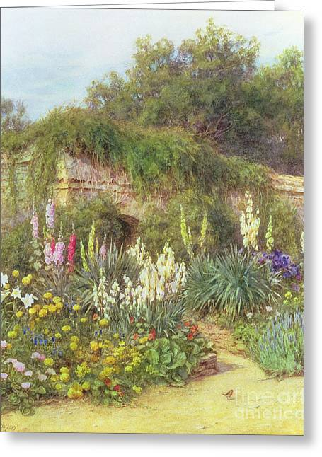 Hollyhocks Greeting Cards - Gertrude Jekylls Garden Greeting Card by Helen Allingham