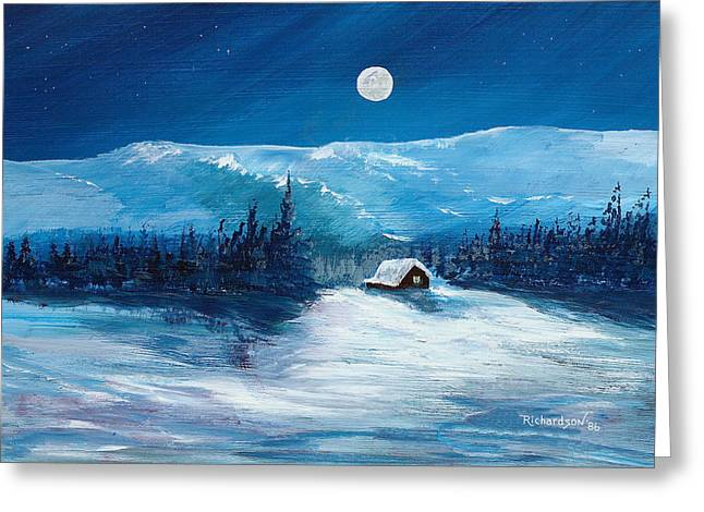 Drifting Snow Paintings Greeting Cards - Get Away Cabin Greeting Card by George Richardson