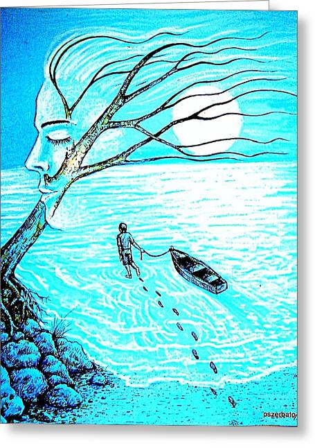 Sea Moon Full Moon Mixed Media Greeting Cards - Get Into The Depths Of The Unconscious Greeting Card by Paulo Zerbato