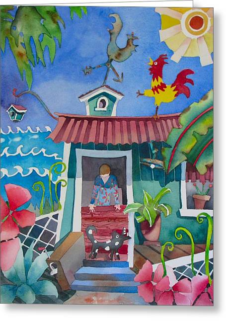 Kauai Dog Greeting Cards - Get Off The Roof Greeting Card by Codie Carman