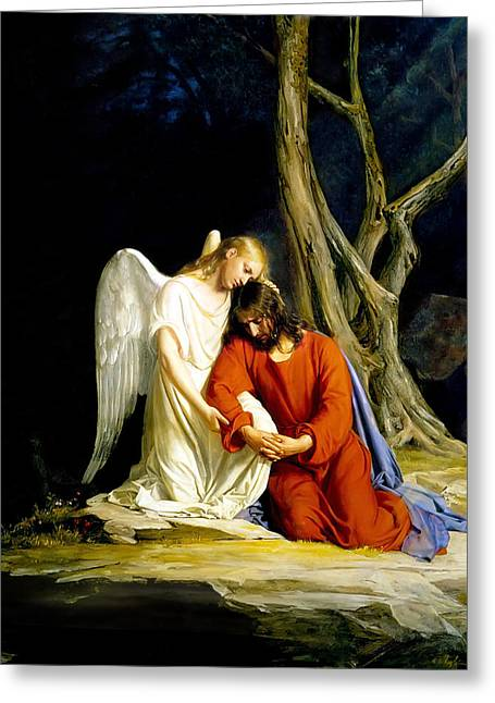 Angel Greeting Cards - Gethsemane Greeting Card by Carl Bloch