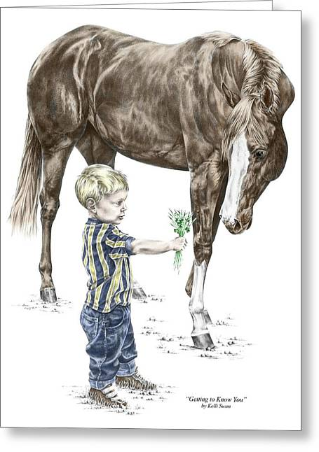 Kelly Greeting Cards - Getting to Know You - Boy and Horse Print color tinted Greeting Card by Kelli Swan