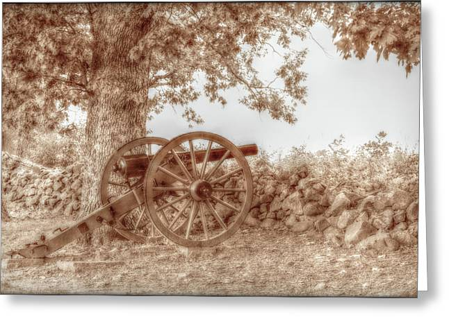 Confederate Monument Greeting Cards - Gettysburg Battlefield Cannon Seminary Ridge Sepia Greeting Card by Randy Steele