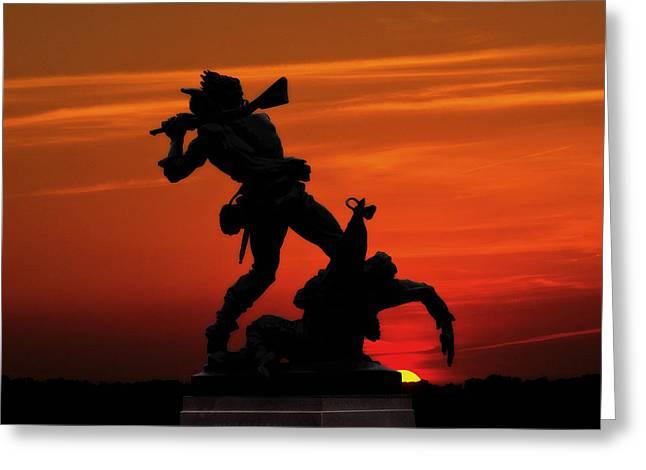 Confederacy Digital Art Greeting Cards - Gettysburg Battlefield Mississippi Memorial Sunset Greeting Card by Randy Steele