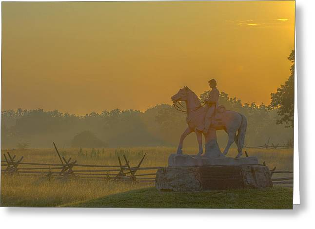 Stone Sentinel Greeting Cards - Gettysburg Morning Light Greeting Card by Randy Steele