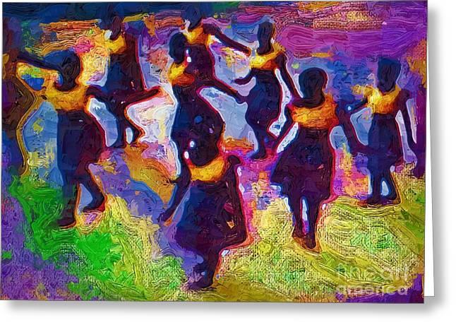 Ghana Greeting Cards - Ghana Dancers Greeting Card by Deborah MacQuarrie