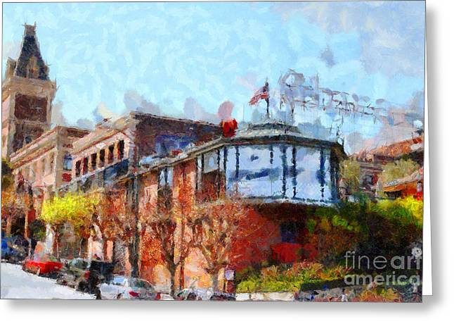 Pier 39 Greeting Cards - Ghirardelli Chocolate Factory San Francisco California . Painterly . 7D14093 Greeting Card by Wingsdomain Art and Photography