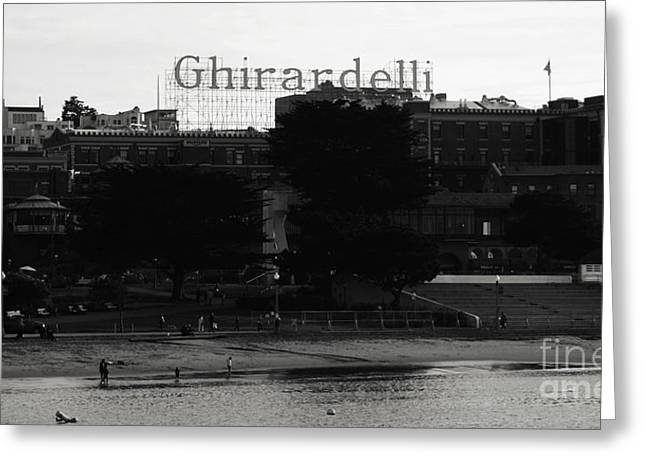 Wharf Greeting Cards - Ghirardelli Square in Black and White Greeting Card by Linda Woods