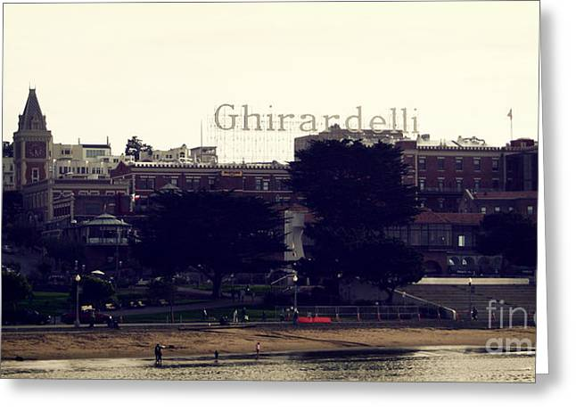 Wharf Greeting Cards - Ghirardelli Square Greeting Card by Linda Woods