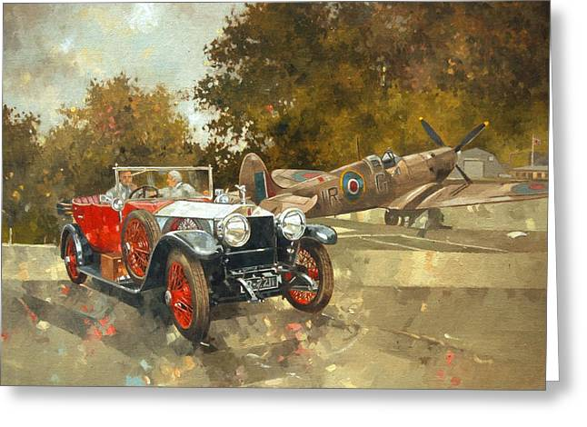 Old Car Greeting Cards - Ghost and Spitfire  Greeting Card by Peter Miller