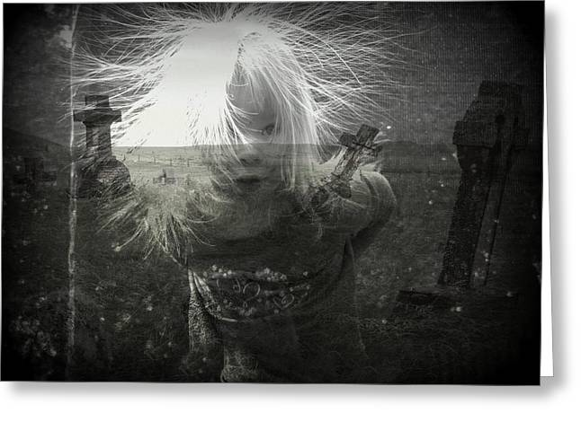 Dark Grey Greeting Cards - Ghost Child Greeting Card by Shirley Sirois