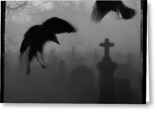 Gothic Crows Greeting Cards - Ghost Crows Greeting Card by Gothicolors Donna Snyder