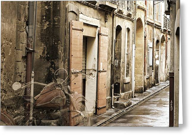 Digital Image Greeting Cards - Ghost Harley on Narrow Street Greeting Card by Gary Gunderson