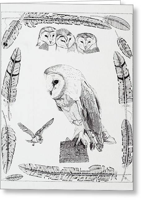 Malcolm Young Greeting Cards - Ghost Owl Greeting Card by Malc McHugh
