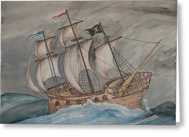 Pirate Ships Drawings Greeting Cards - Ghost Pirate Ship Greeting Card by Jaime Haney