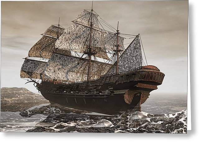 Storm Digital Art Greeting Cards - Ghost Ship of the Cape Greeting Card by Lourry Legarde