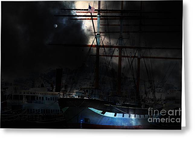 Pirate Ship Greeting Cards - Ghost Ship of The San Francisco Bay . 7D14032 Greeting Card by Wingsdomain Art and Photography