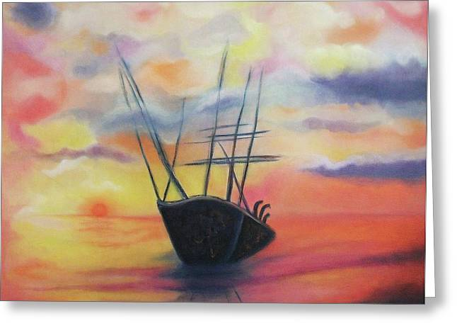 Suzanne Marie Leclair Paintings Greeting Cards - Ghost Ship Greeting Card by Suzanne  Marie Leclair
