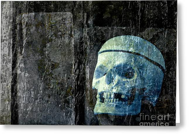 Ghoul Greeting Cards - Ghost Skull Greeting Card by Edward Fielding