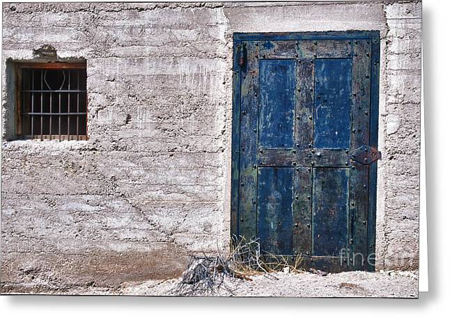 Barred Window Greeting Cards - Ghost Town Jail Greeting Card by Sandra Bronstein
