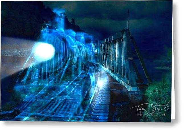 Train Bridge Greeting Cards - Ghost train bridge Greeting Card by Tom Straub