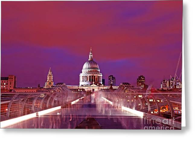 Ghostly Greeting Cards - Ghostly Commuters head to St Pauls on Millennium Bridge Greeting Card by Chris Smith