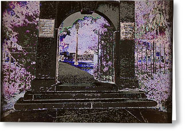 Ghostly Garden Greeting Card by Leslie Revels Andrews