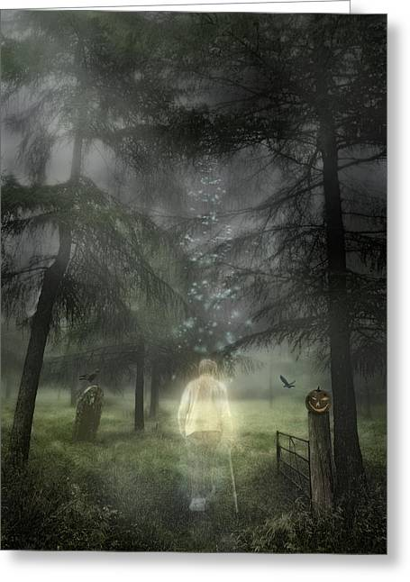 Graveyard Road Greeting Cards - Ghostly Gentleman Greeting Card by Amanda And Christopher Elwell
